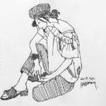きょうのスケッチ 20170712 – 久しぶりの横向き。 – from Instagram